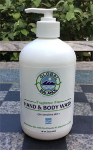16 oz. bottle of Global Balance unscented hand & body wash with pump
