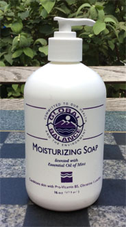16 oz. bottle of Global Balance mint moisturizing soap with pump
