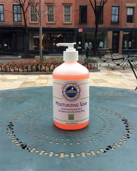 16 oz. pump bottle of Global Balance lemongrass, lavender & ylang-ylang moisturizing with urban background