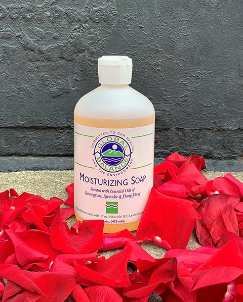 16 oz. suirt cap bottle of Global Balance lemongrass, lavender & ylang-ylang moisturizing with rose petals