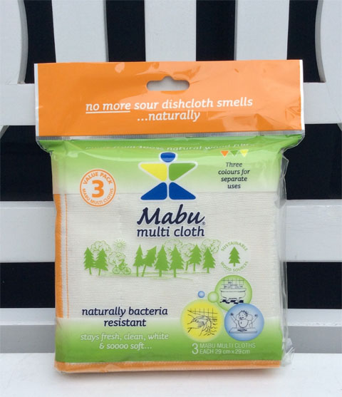package of 3 Mabu cleaning cloths, color-coded, with lattice background