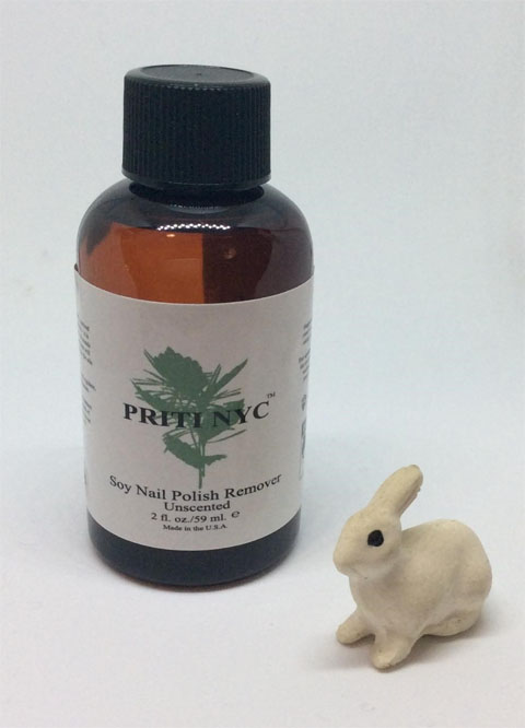 2 oz bottle of soy nail polish remover with bunny figurine