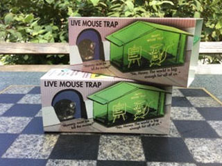Mouse shown next to transparent green plastic trap in the shape of a small house