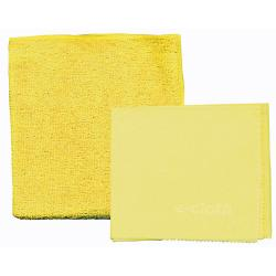 2 yellow shower cleaning cloths - an extra-thick absorbent cleaning cloth and a glass & polishing cloth.